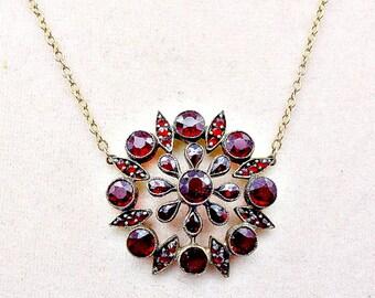 Bohemian Garnet Pendant, Antique Bohemian Garnet Necklace, Victorian Bohemian Garnet Necklace, Garnet Starburst Pendant