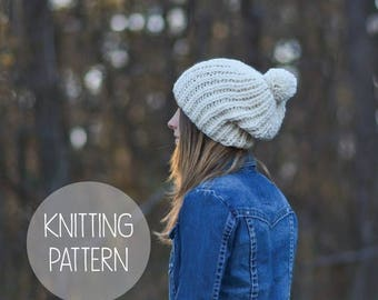 FLASH SALE knitting pattern slouchy pom hat toque pattern - the Rapids beanie