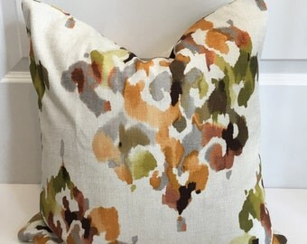 Amber, Citron Green, Orange and Ivory Ikat Pillow Covers in Designer Fabric