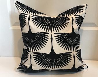 Ivory White and Black Flocked Velvet Pillow Covers in Genevieve Gorder Flock Velvet Onyx