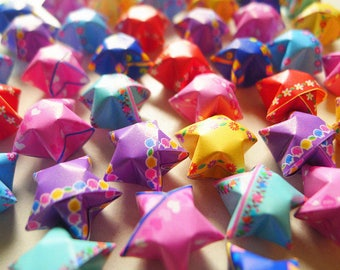 Mixed Print Origami Lucky Stars-Assorted Wishing Stars/Party Supply/Home Decor/Gift Fillers/Embellishment