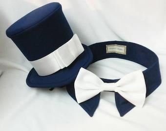 Holiday Dog Tuxedo, Dog Navy Blue Shirt Collar,  Dog Bow Tie - PLUS Dog Navy Blue Top Hat, Pet Shirt Collar and Pet Top Hat