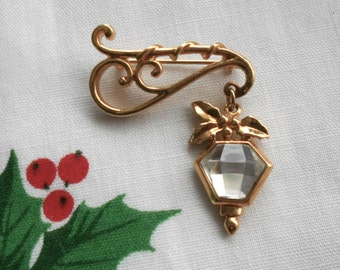 Vintage lamp brooch.  Gold pin.