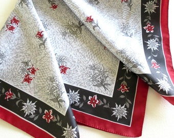 Women's Vintage Neck Scarf, Vintage Floral Pocket Square or Head Scarf, Red Black Grey, Vintage Linens by TheSweetBasilShoppe