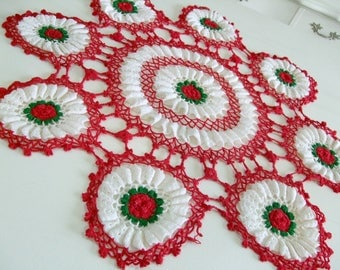 "Extra Large Crocheted Doily, Small Table Topper, Red Roses with Green and White Accents, 29"" Across, Vintage Linens by TheSweetBasilShoppe"