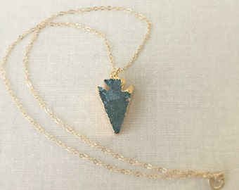 Blue Druzy Necklace | Arrow Druzy Necklace | Druzy Necklace | Gold Necklace | Gift For Her | Layering Necklace | Blue Gemstone Necklace