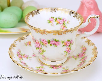 Royal Albert Dimity Rose Teacup and Saucer, Replacement China, English Bone China Tea Cup Set, ca. 1969-2001