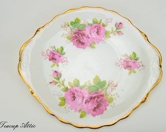Royal Albert American Beauty Cookie Plate, English Bone China Cake Plate, Replacement China, ca. 1941-1977