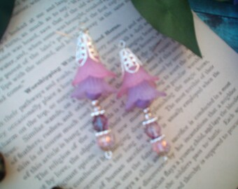 Garden Flower Earrings, Lavender & Pink Earrings, Handcrafted  and Designed, Long Dangle Pierced, Lucite Flowers, Quaint, Tea Party
