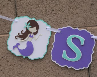 Under the Sea, birthday banner. Whale, Crab and Mermaids. Aqua and Purple.