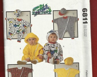 McCalls 6811 Big Baggy Rompers for Babies with Full Zipper Front and Ribbed Cuffs Hats to Match Sizes 13 to 18 LBS