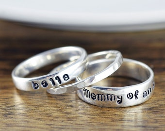 Mommy of an Angel Ring - Personalized Stacking Rings - Stackable Mothers Ring - Miscarriage Ring - Infant Loss - Memorial Jewelry
