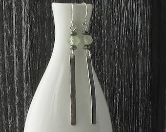 Long Silver Bar Earrings with Prehnite Bead, Silver Hammered Bar  Beaded Earrings, Long Sterling Silver Earrings, Matte Finish Silver E850