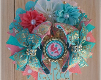 Mermaid Party Hair Bow, Coral Mint Bows, Mermaid Birthday Outfit Accessories, Over the Top Bows Gold Coral Aqua