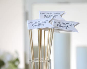 Great Love Affairs Start with Champagne / Drink Stirrers / Drink Tags / Flags / Wedding Drink Tags / 12 Stirrers