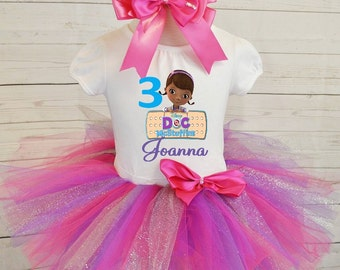 Doc McStuffins birthday outfit,FREE SHIPPING,Doc Mcstuffins,birthday girl,birthday girl outfit,pink outfit,birthday set,pink tutu set