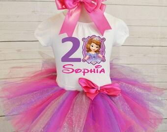 Princess sofia birthday outfit, FREE SHIPPING, sofia the first, purple, pink, disney princess, birthday girl, birthday outfit