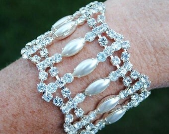 30% OFF SALE - Lacey Bridal Rhinestone Bracelet - Vintage-Inspired