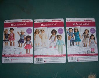 Simplicity 8281 or 8282 or 8359...American Girl Doll Clothing Patterns...18 Inch Doll Clothes Patterns...New and Uncut...
