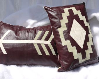 Leather Pillows, Leather Tribal Decorator Pillows,Set of 2, Couch Pillows,Throw Pillows, Upcycled Pillows, Pillows,Living Room Pillows