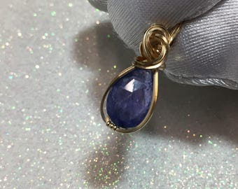 Tanzanite Pendant - Violet Blue - 14K Gold Filled (3k g1-3)