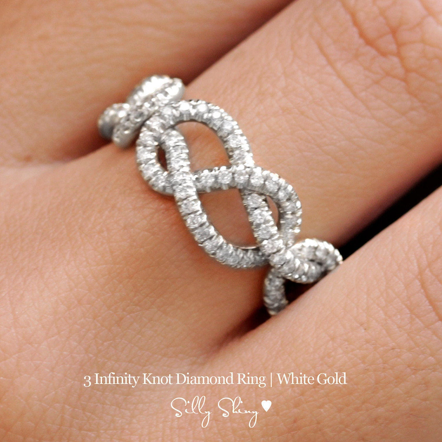 gold wedding band double infinity knot infinity wedding band Triple Infinity Knot Ring 0 75 CT Diamond Wedding Band 14K Gold Wedding Ring Cluster Ring Art Deco Ring Infinity Ring