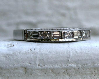 Fabulous Vintage Platinum Baguette and Round Diamond Wedding Band - 0.95ct.