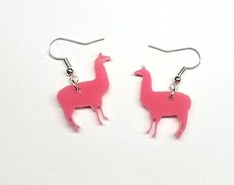 Llama Dangle Earrings   Laser Cut Jewelry   Hypoallergenic Dangle Earrigns   Acrylic Earrings