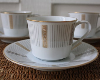 espresso cups, cups and saucers, Hollywood Regency Greek key (set of three)