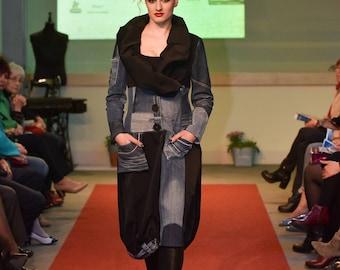 Upcycled denim coat / Recycled jean coat / Extravagant coat