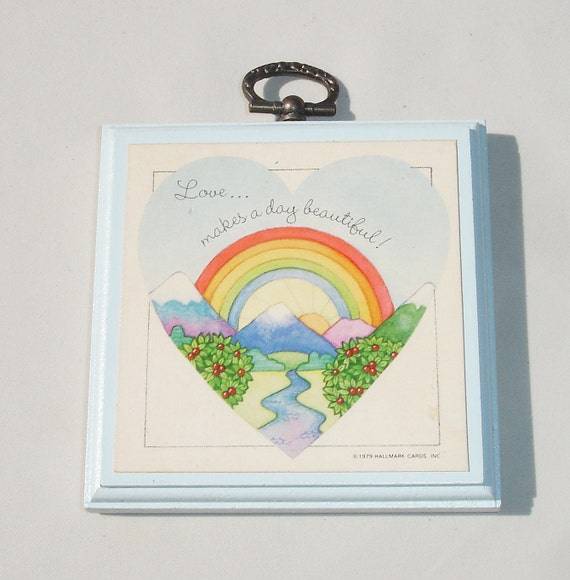 Vintage Small Hallmark Love Quote Rainbow Plaque