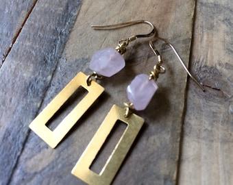 brass rectangle cutout and pink quartz geometric earrings
