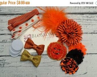 HOLIDAY SALE DIY Headband Making Kit - Halloween Collection - Chiffon Frayed Flowers - Shabby Rose Trim - Flower Headbands - Pumpkin Glitter