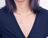 ON SALE Gold open moon and teardrop dangle choker - Neck cuff - neck choker - metal collar choker necklace