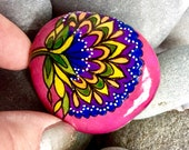 Boho rose blossom  / painted rocks / painted stones / rock art / boho decor / hippie art / altar art /  hand painted stones / small art