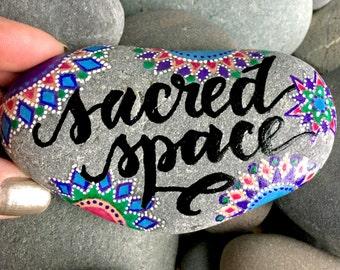sacred space / painted stones / painted rocks / rock art / altar art / mandalas / mandalas on rock / paperweights / words on stone / rocks