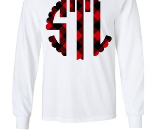 Plaid Monogram Long Sleeve T Shirt Heat Transfer Black and Red Todd Toddler 2T, 4T, 6T, Youth-Adult XS, S, M, L, XL, 2XL