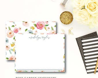 Rose Garden Stationery | Flat Notes | Printed Stationery with Blank Envelopes | Printed by Darby Cards