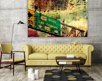 """ORL-2233  101 South. Large Cityscape Canvas Art, Los Angeles Wall Art Print up to 72"""""""