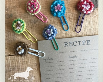 CLEARANCE! Flower. Paperclips (Set of 6) -- (Vintage-Style, Coworker Birthday Gift, Shabby Chic, Crochet, Organize, Under 5, Flower, Summer)