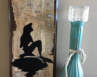 Little Mermaid Artwork Sign Upcycled