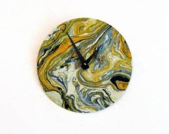 Unique Wall Clock, Silent Clocks,  Marbled Home Decor, Yellow and Grey Home Decor, Decor and Housewares, Home and Living