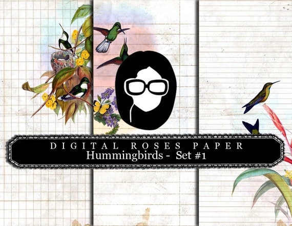 Lined Diary Paper- Hummingbirds Set #1 - 3 Pages Instant Downloads, lined paper pack, lined journal paper, altered art kit, tsunamirose
