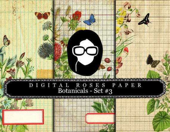 Lined Paper Download - Botanical Set #3 - 8.5x11 Digital Paper Packs- 3 Page Instant Downloads, digital paper pack, botanical prints