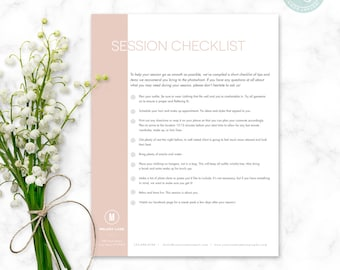 Photography Session Checklist - Photographer Checklist - Client Forms - Photoshop template - Pre-Session List - Marketing - Contracts