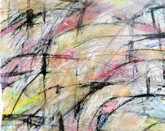10-26-16b  (abstract expressionist painting, black, white, blue, purple, green, yellow, gold, red)