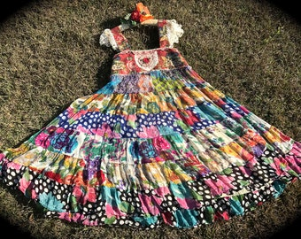 La Belle Gypsy Roses Dress Rustic Vintage Crochet Patchwork Beauty
