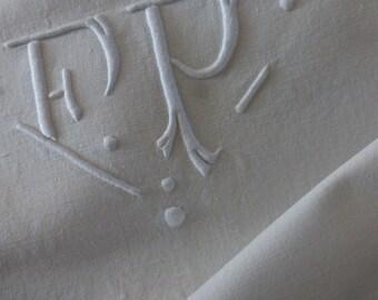 Superb French  Metis Linen Sheet, Monogrammed F.P Fleur Bleue Brand.
