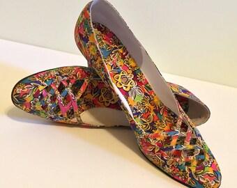 Vintage 1960s John Jerro Floral Shoes - Size 8