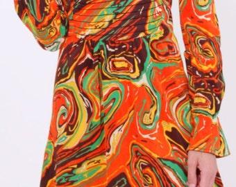 Vintage 70s Mini Dress Vibrant Print Bell Sleeve Cuff Boho Festival Size Small